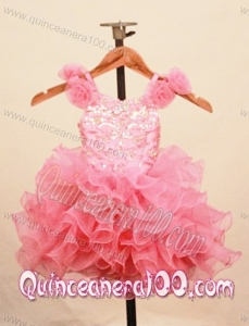 Elegant Ruffles Baby Pink Little Girl Pageant Dress With Hand Made Flowers Scoop Neck
