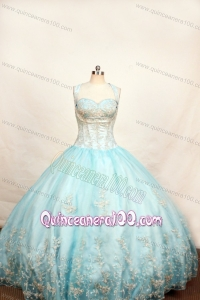 Light Blue Little Girl Pageant Dresses With Appliques and Straps