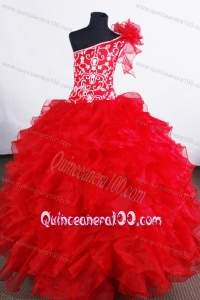 Luxurious Flower Girl Pageant Dress One Shoulder Neckline With Ruffled Layers and Embroidery Decorate Organza