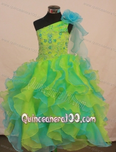 Multi-color Flower Girl Pageant Dress For Formal Party With Ruffles and Flowers Decorate