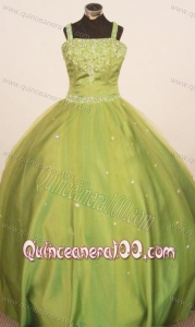 Perfect 2013 Little Girl Pageant Dresses Straps Floor-Length Olive Green Ball Gown