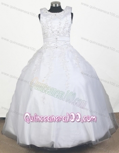 Perfect Embroidery With Beading Ball Gown Scoop Little Gril Pageant Dress with Floor-length
