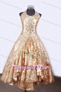 Popular A-line and Halter Top Neck For Little Girl Pageant Dresses With Gold