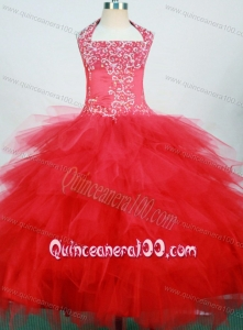Red and Halter For Little Girl Pageant Dresses With Ruffled Layers