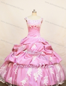 Rose Pink Little Girl Pageant Dresses With Appliques Pick-ups and Scoop