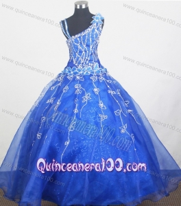 Royal Blue Beautiful Little Gril Pageant Dress With Beading and Hand Made Flowers