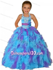 Ball Gown Halter Top Remarkable Appliques Purple and Blue Little Girl Pageant Dress