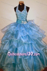 Beaded Decorate Shoulder Halter Top Light Blue Organza Beading Little Girl Pageant Dresses