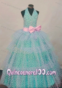 Bowknot Ball Gown Halter Top Turquoise And White Beading Little Girl Pageant Dresses Hottest