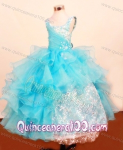 Fashionable Baby Blue Little Girl Pageant Dresses Ruffled Layered Scoop with Lace