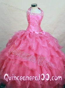 Wonderful Halter Top Hot Pink Organza Beading Little Girl Pageant Dresses