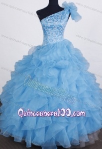 Exclusive Ball Gown Little Girl Pageant Dress One Shoulder Floor-length Aqua Blue Organza Beading