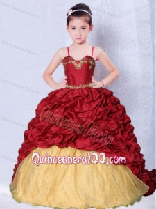 Wine Red and Gold Spaghetti Straps Appliques Little Girl Pageant Dress