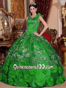 Green V-neck Embroidery and Hand Made Flowers Quinceanera Dress for Limited