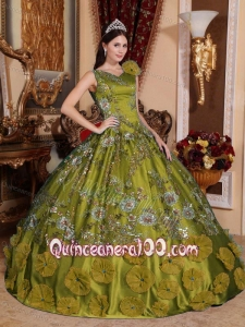 Olive Green Ball Gown V-neck Quinceanera Dress for Sweet 16