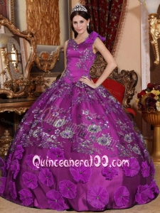 Embroidery and Hand Made Flowers V-neck Long Dress for Quinceanera Party