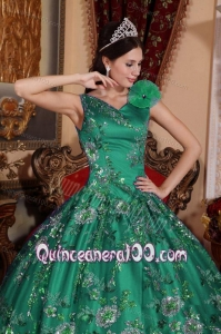 Fashionable V-neck Embroidery and Hand Made Flowers Quinceanera Dress in Green