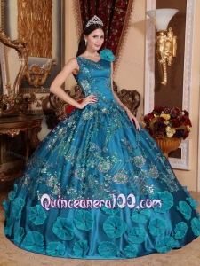 Teal V-neck Long Embroidery and Hand Made Flowers Dress for Quinceanera