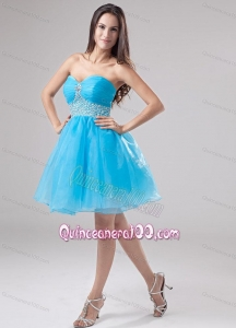A-Line Beading Organza Sweetheart Aqua Blue 16 Party Dress