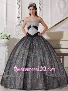 Black Ball Gown Sweetheart Floor-length Sequined and Tulle Appliques 16 Birthday Party Dresses