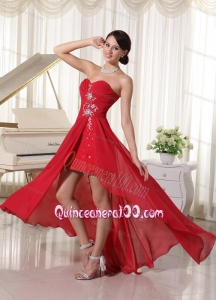 High-low Beaded Sweetheart Chiffon 16 Birthday Party Dress In Wine Red