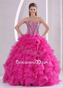 Hot Pink Ruffles Ball Gown Sweetheart Beaded Decorate 16 Birthday Party Dress