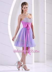 Lavender Sweetheart 16 Birthday Party Dress with Pink Sash