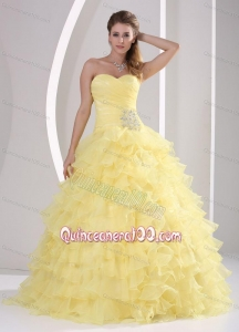 Light Yellow Ruffles Sweetheart Appliques and Ruching 16 Birthday Party Dress