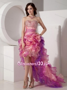 Multil-color High-low Ruffles Organza Sweetheart Beading 16 Party Dress
