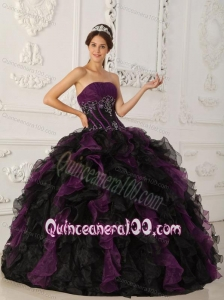 Purple and Black Ball Gown Strapless Taffeta and Organza Beading 16 Birthday Dress