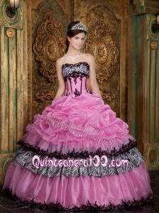 Rose Pink Ball Gown Strapless Pick Up Taffeta 16 Birthday Dress