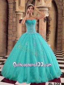 Turquoise Ball Gown Floor-length Organza Beading 16 Birthday Party Dress