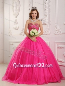 A-Line Sweetheart Satin and Organza Beading 16 Party Dress in Hot Pink