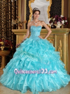 Aqua Blue Sweetheart Organza 16 Party Dress with Ruffles