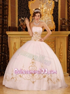 Ball Gown Strapless Satin and Organza Appliques 16 Party Dress in White