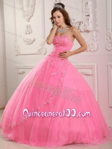 Classical Sweetheart Tulle Appliques Rose Pink 16 birthday Dress