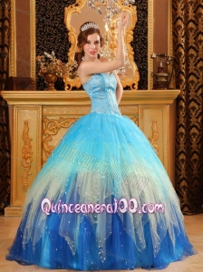 Gorgeous Sweetheart Beading Satin and Organza Blue 16 Party Dress