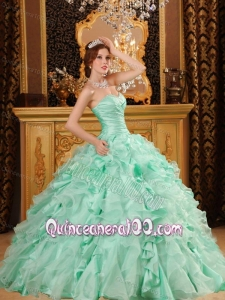 Luxurious Ruffles Organza And Taffeta Apple Green 16 Party Dress