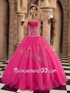 Organza Ball Gown Beading 16 Birthday Dress in Hot Pink