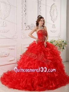 Red Strapless Organza Ruffles And Embroidery 16 party dress