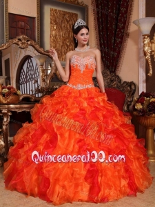 Sweetheart Organza Appliques and Beading Orange 16 party dress