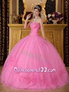 Sweetheart Tulle Appliques 16 Party Dress in Rose Pink