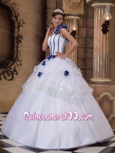 White One Shoulder Satin and Tulle Hand Made Flowers 16 Party Dress