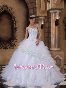 White Sweetheart Organza Beading 16 Party Dress