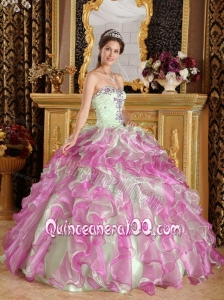Fuchsia and Apple Green Ball Gown Sweetheart Floor-length Organza Appliques 16 Birthday Party Dress