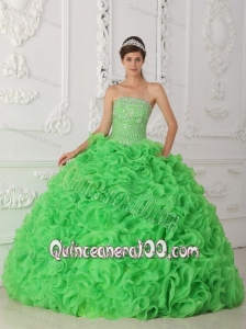 Green Ball Gown Strapless Floor-length Organza Beading 16 Party Dress