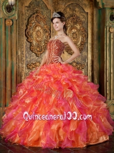 Multi-Color Ball Gown Strapless Floor-length Organza Beading and Ruffles 16 Birthday Party Dress