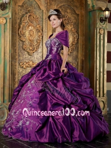 Purple Ball Gown Strapless Floor-length Taffeta Embroidery 16 Party Dress