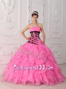 Sweet Ball Gown Strapless Floor-length Appliques and Ruffles Hot Pink 16 Birthday Party Dress