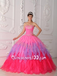 Hot Pink Ball Gown Sweetheart Floor-length Organza Beading and Ruch 16 Birthday Party Dress